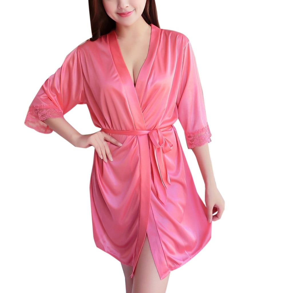 Women\'S Sexy Ice Silk Robes Lingerie Sleepwear Pajamas Solid Bandage Ladies Underwear Night Gown Nightwear Robes