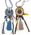 De Las nuevas Mujeres ropa accesorios Bohemia Étnico largo fringe borla colgante de Collar de plumas hecho a mano del encanto de la Luna Colgante, Collar