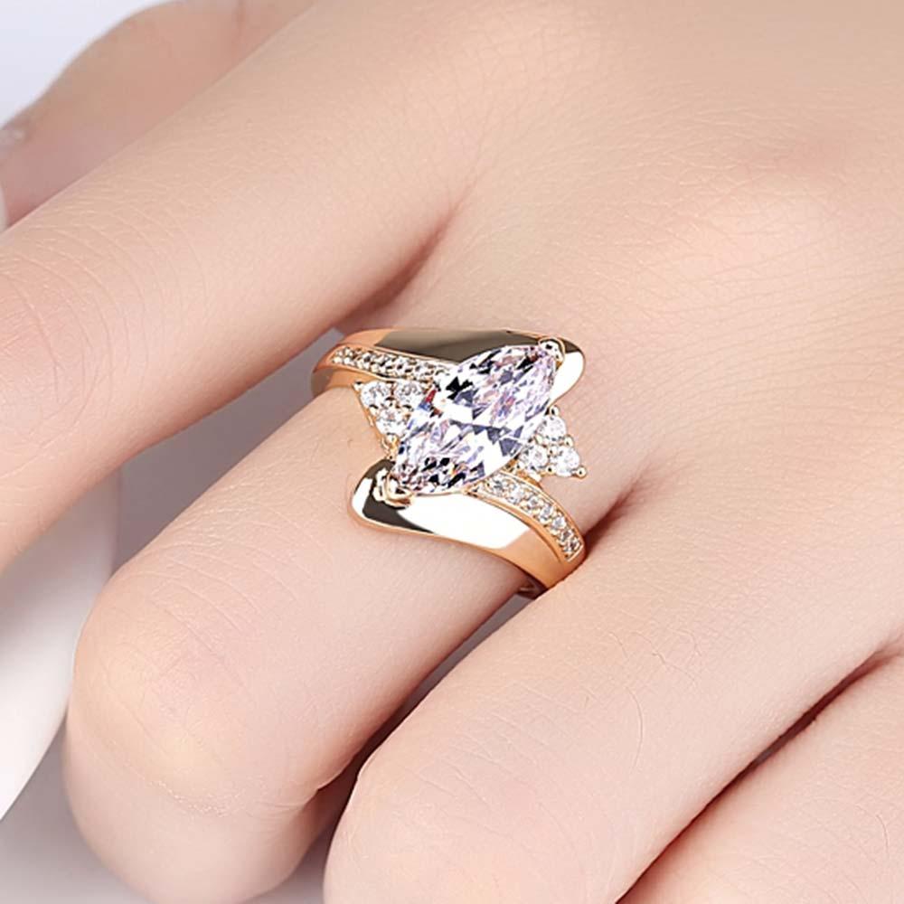 Горячая Распродажа, дизайн, роскошное большое овальное CZ кольцо золотого цвета, обручальное кольцо, хорошее ювелирное изделие для женщин, ювелирных изделий