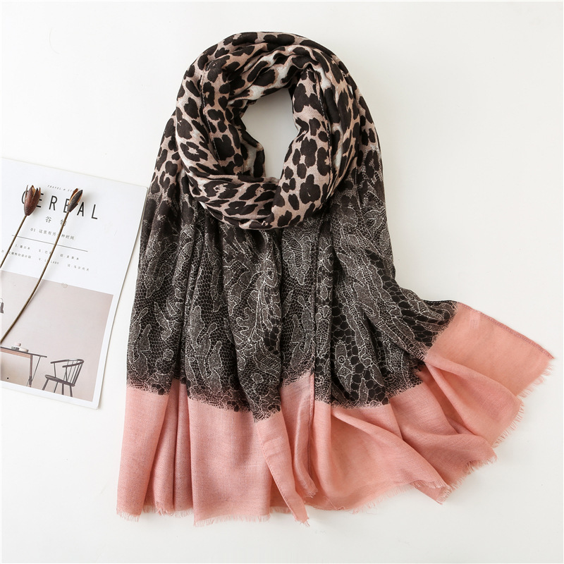 2019 Fashion Leopard Lace Patchwork Fringe Viscose Shawl Scarf Lady High Quality Print Pashmina Stole Wrap Muslim Hijab Sjaal