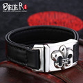 Beier  925 silver sterling  Top layer leather  bracelet for men Chrome Hearts Fine Jewelry  B925R024
