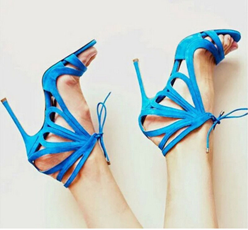 delicate sky blue butterfly cut lace sandals strappy suede leather summer style women shoes - Fashion Western Style Boutique store