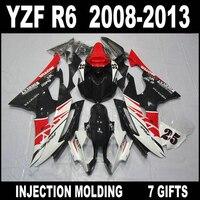 Factory outlet for 08 09 10 11 12 13 YAMAHA R6 red white black fairings custom 2008 2009 2013 YZF R6 fairing body kit LG856