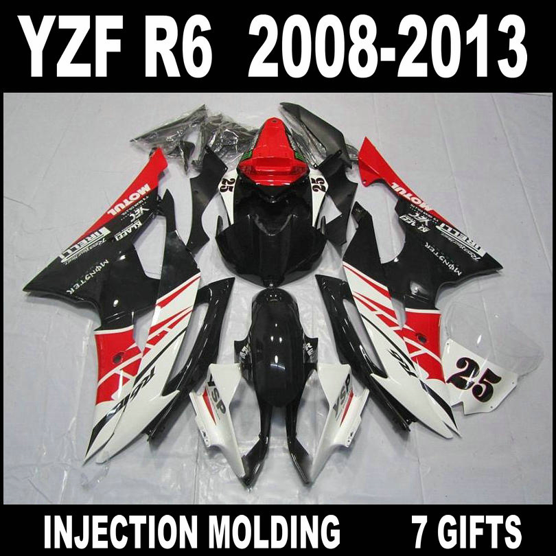 Factory outlet for 08 09 10 11 12 13 <font><b>YAMAHA</b></font> <font><b>R6</b></font> red white black fairings custom 2008 2009 - 2013 YZF <font><b>R6</b></font> fairing <font><b>body</b></font> <font><b>kit</b></font> LG856 image