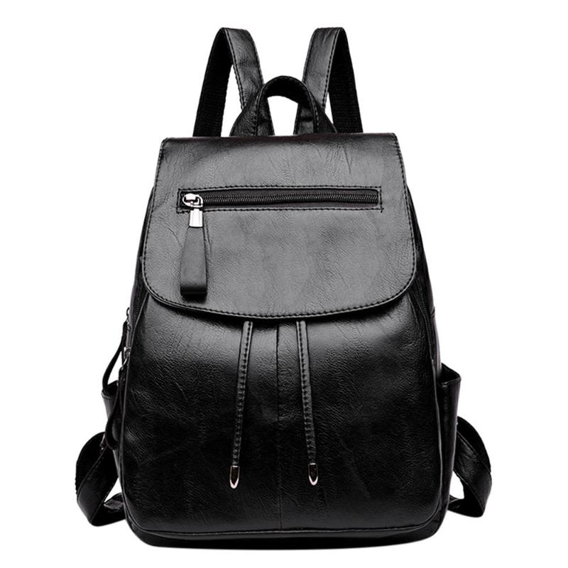 Pu Leather Women Backpack Fashion School Bags For Teenager Girls Casual Women Black Backpacks Large Capacity Female Travel Daypa