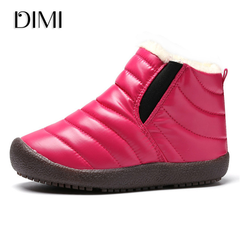 Children Snow Boots 2018 Winter Shoes Waterproof Girls Boys Boots Leather Thick Short Warm Boots Fashion Kids Shoes Size 26-37 mhyons 2018 winter girls boots thick warm shoes cotton padded boys girls boots girls cowhide snow boots kids shoes size 21 30