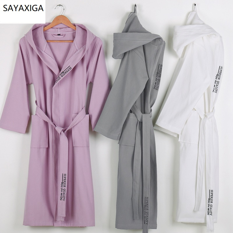 New 100% Pure Cotton Material Plain Color Bathrobes Robe Unisex Hooded Pajamas Sauna Clothes Waffle Sleepwear Water Absorption