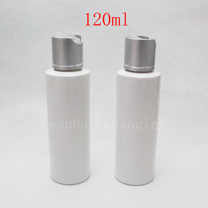 120ml white bottle with silver disc top cap (1)