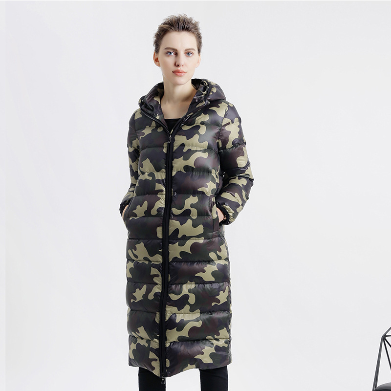 Fashion Camouflage Long Women's winter coat 2017 Hooded Duck Down Jackets Slim Thick Female Parkas Casual Women Outwear qx419 thick hooded down jacket women slim print long winter coat camouflage y160
