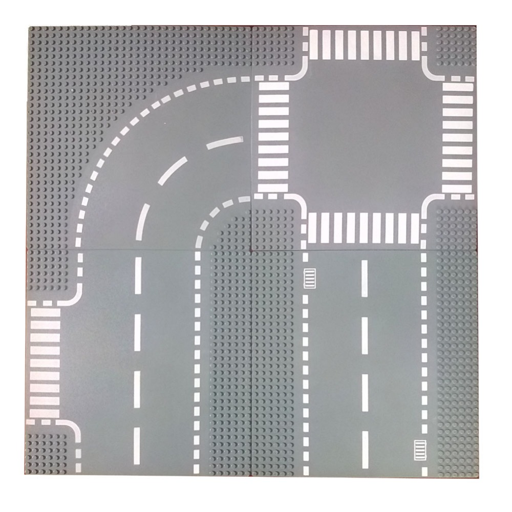 10x10 City Town Baseplate for shopping street 32 dots Straight crossroad t-junction curve road 7281 building block kits legoingly city road base plate straight crossroad curve t junction street baseplate building blocks bricks toys for children