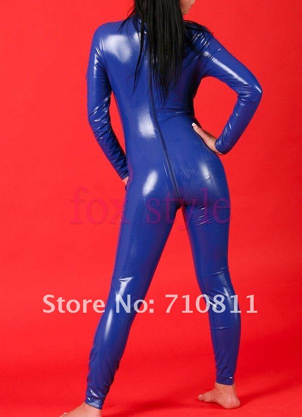 Dark blue latex catsuit for woman