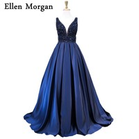 Navy Blue Satin Ball Gowns Prom Dresses With Stones For Women Real Photos Elegant Long Sparkling