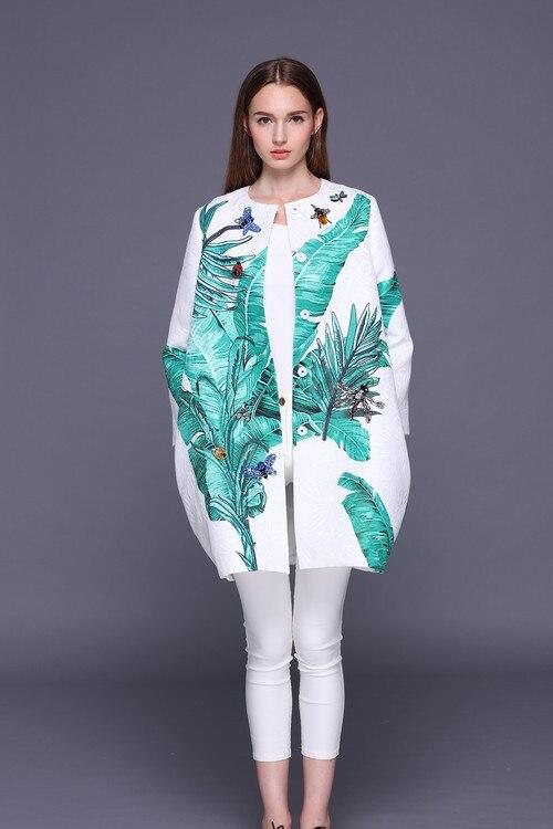 Mode lâche femme vert feuille imprimer trench manteaux 2018 printemps pistes libellule diamants pardessus