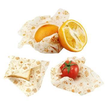 3pcs Beeswax Wrap Cloth + 3Pcs Degradable Organic Cotton Mesh Storage Bag Eco Friendly Reusable Food Fresh Keeping Sets 4