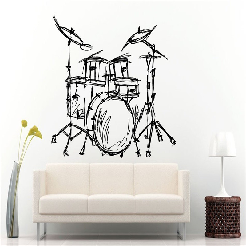Set Drums Silhouette Wall Mural Home Livingroom Fashion Decor font b Music b font font b