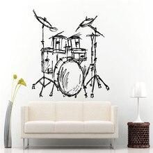Set Drums Silhouette Wall Mural Home Livingroom Fashion Decor Music Instrument Drums Set Kits Wall Sticker Quality Wallpaper