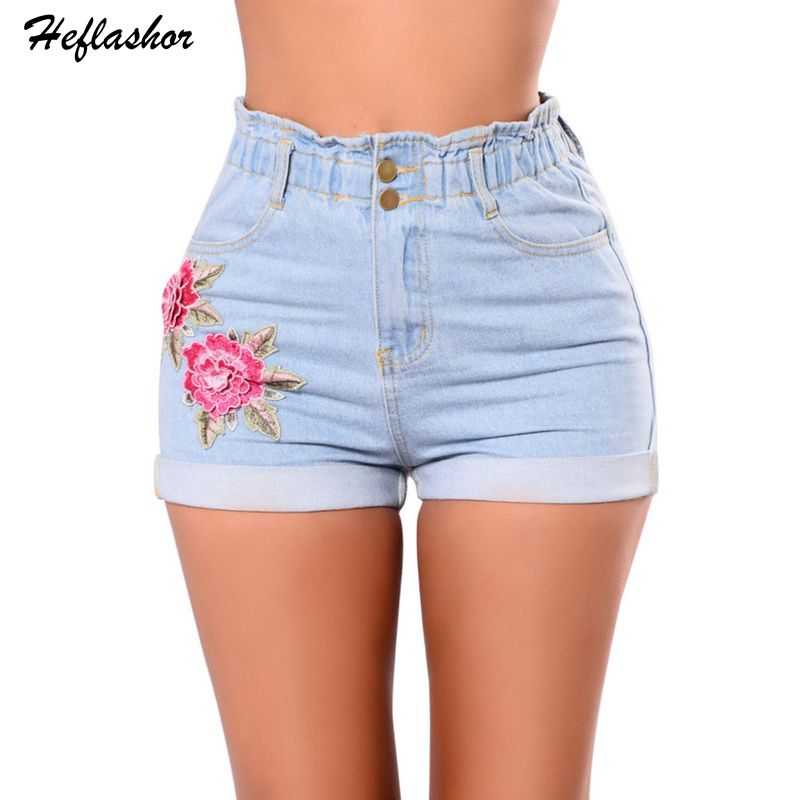 Febelle Embroidery Rose Shorts Women Summer High Waist Denim Shorts Slim Pantalones Cortos Mujer Short Femme #236939 Shorts