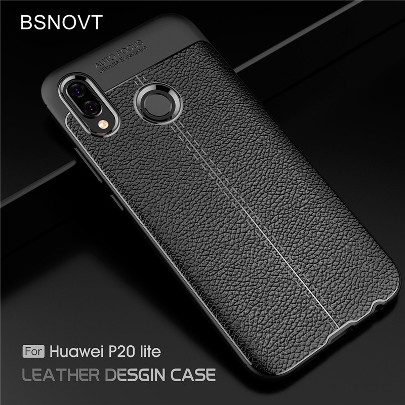 BSNOVT For Huawei P20 Lite Case Soft Silicone TPU Leather Shockproof Phone Case For Huawei P20 Lite Shell For Huawei Nova 3E Bag in Fitted Cases from Cellphones Telecommunications