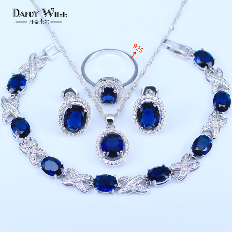 Blue Zircon Costume Silver 925 logo Jewelry Sets Women Pendant&Necklace Ring Earrings With Natural Stones Bracelets Jewelery