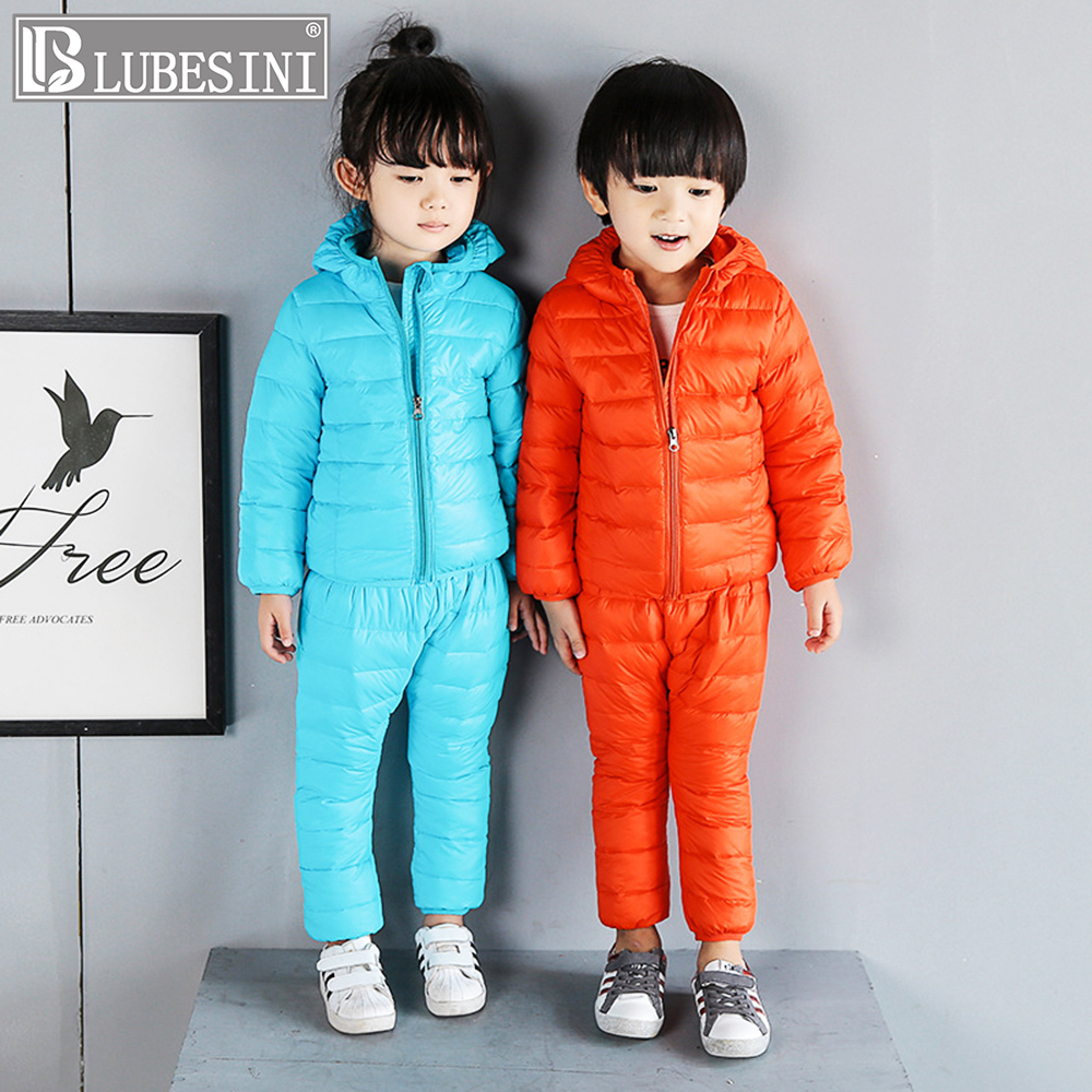 LUBESINI Children Set Boys girls Clothing sets winter 2-7year hoody Down Jacket + Trousers Waterproof Snow Warm kids suit children set baby boys girls clothing sets winter fur collar hoody down jacket trousers waterproof snow warm kids clothes suit