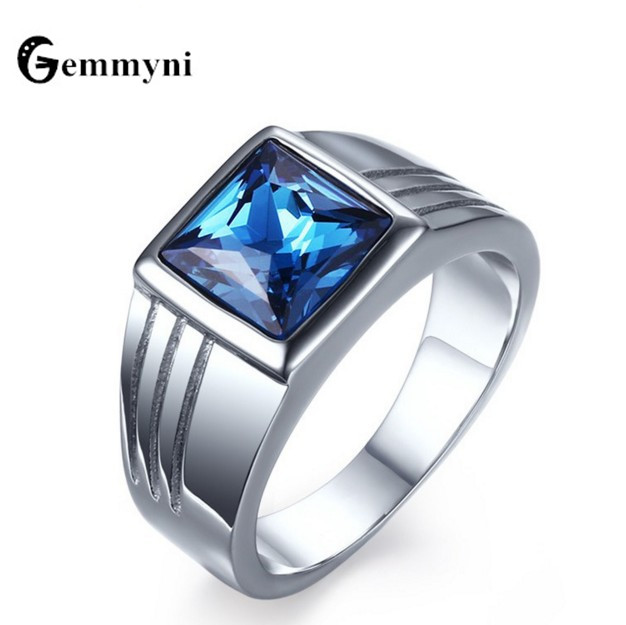 Vintage Blue Crystal Rings For Men Cubic Zirconia CZ Square Stainless Steel Mens Promise Engagement Wedding Jewelry Fashion Gift