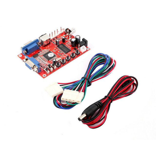 Red VGA to CGA/CVBS/S-VIDEO High Definition Converter Arcade Game Video Converter Board for CRT LCD PDP Monitor