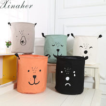 XINAHER Laundry Hamper Bag Cartoon lovely Clothes Storage Baskets Home clothes barrel Bags kids toy storage laundry basket(China)