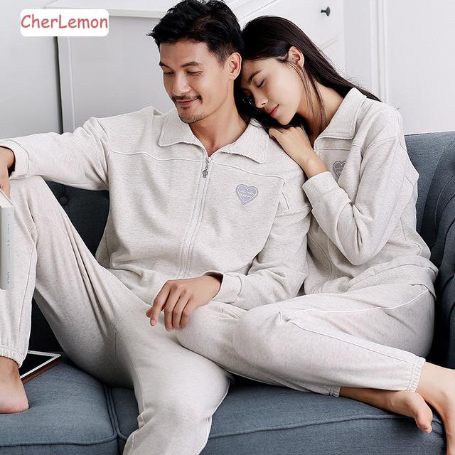 Otoño Invierno Pareja Pajamas Set Sólido de Algodón Amantes de la ropa de Noche de Otoño de Manga Larga Gira el Collar Abajo Mujeres y Hombres Pijima Chándal