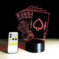 אשליה 3D שלט רחוק סירת מפרש כרטיסי פוקר שולחן שולחן LED מגע מנורת לילה אור 7 צבע ילדים משפחת מתנות חג