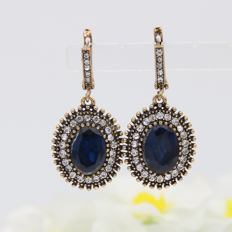 Vintage Flower Bridal Earrings Jewelry Turkish Gold Color Round Earring Indian Swarovski Elements Women Resin Ethnic In Drop From