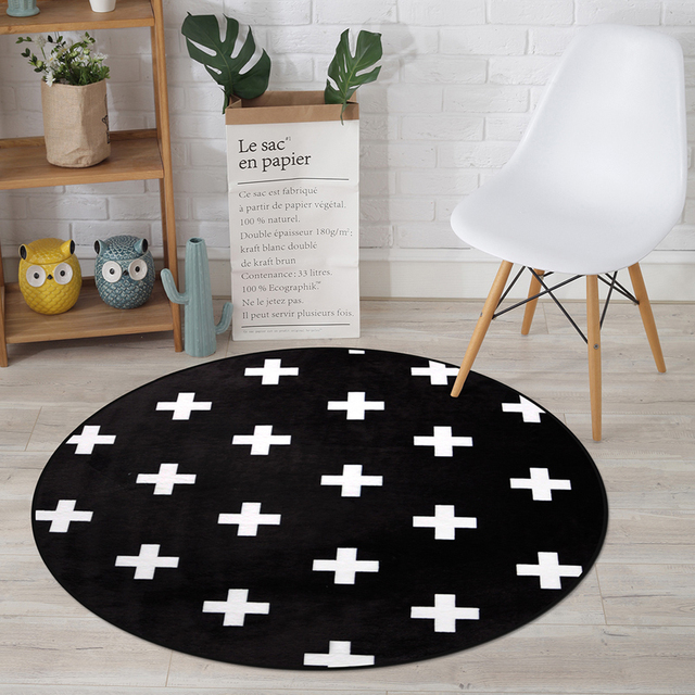 Simple Black White Cross Geometric Stripe Lattice Round Rugs Super
