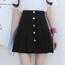 Pleated Skirt Summer Preppy Style Kawaii A Line Buttons Pink High Waist Women Chic Korean Fashion Black Mini Skirts Womens