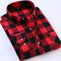 ブランドの新しいメンズ格子縞のシャツポケット赤と黒カジュアルロングスリーブシャツスリムフィット綿プラスサイズメンズ服2018ファッション
