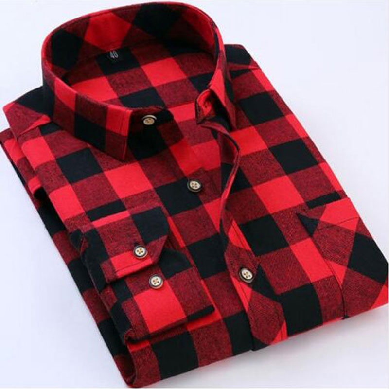 Brand New Mens Plaid Shirts Pocket Red And Black Casual Long Sleeve Shirt Slim Fit Cotton Plus Size Mens Clothes 2018 Fashion