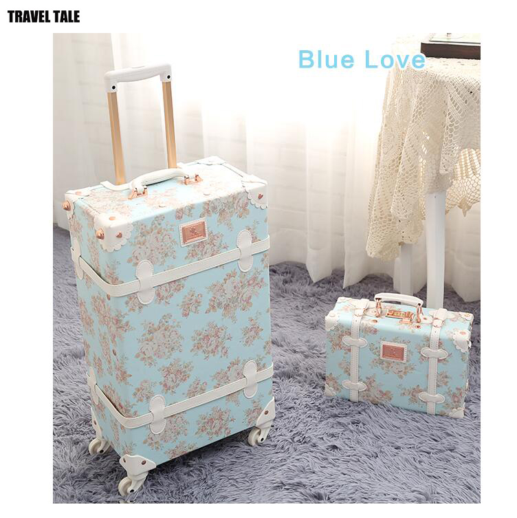 TRAVEL TALE 20 24 26 inch women Retro spinner rolling luggage trolley floral suitcase trolley bags