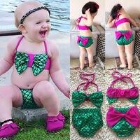 Русалки для маленьких девочек бантом купальный костюм Детские Летние Симпатичные Пляжные повязки Костюмы