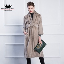 Mink sack V collar simple belt fur coat mink coat woman really fur coat natural mink wholesale custom