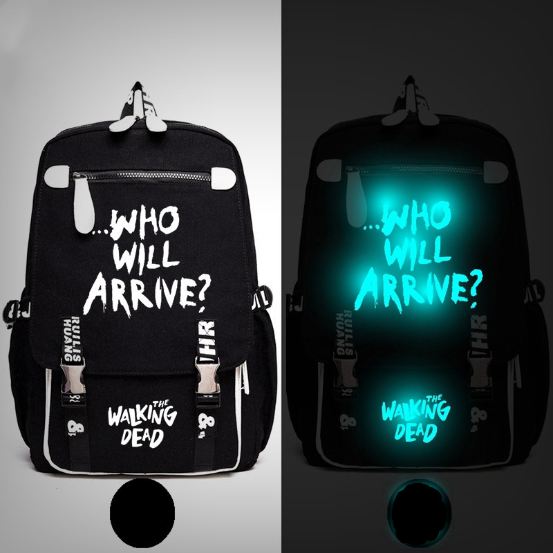 Walking Dead Who will Arrive Wing Backpack Messenger Luminous Book Bag School Travel Bags Anime Gift