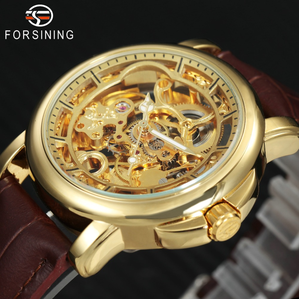 FORSINING Fashion Casual Auto Mechanical Watch Leather Strap Golden Skeleton Dial Mens Watches Top Brand Luxury relogio masculin 2015 forsining relogio pmw342