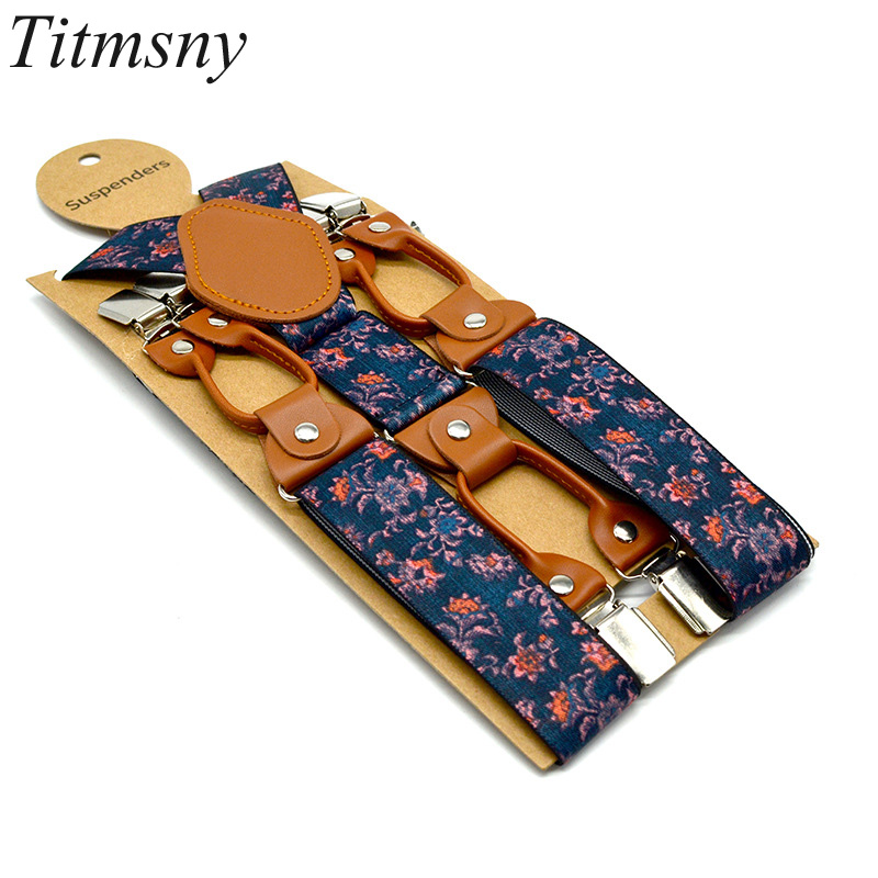 Mens Adjustable Belt Gift Alloy Elastic Shirt Suspenders 6 Clip Adult Belt Men's Print Suspenders Straps Fashion Leisure 3.5cm