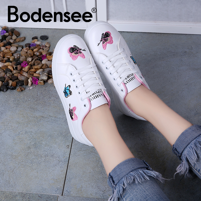 BODENSEE Women Vulcanized Shoes Butterfly Solid Color Women Canvas Shoes Lace-up Casual White Ladies Shoes Women Sneakers 1224BODENSEE Women Vulcanized Shoes Butterfly Solid Color Women Canvas Shoes Lace-up Casual White Ladies Shoes Women Sneakers 1224