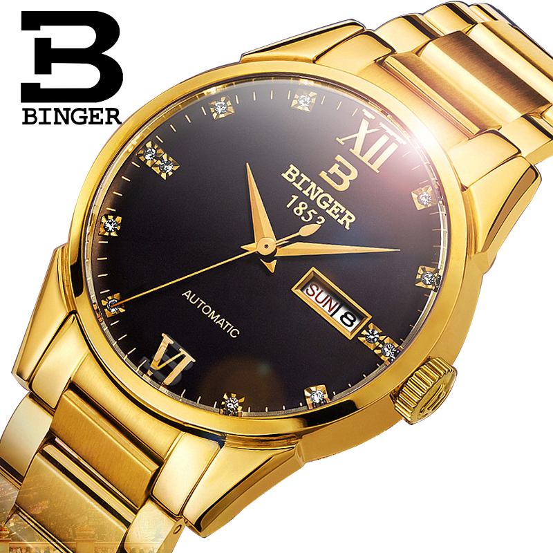 Switzerland BINGER Business Men Automatic Mechanical Watch Solid Strap Gold Dial Royal Diamond Design Fashion Wrist Watches MensSwitzerland BINGER Business Men Automatic Mechanical Watch Solid Strap Gold Dial Royal Diamond Design Fashion Wrist Watches Mens