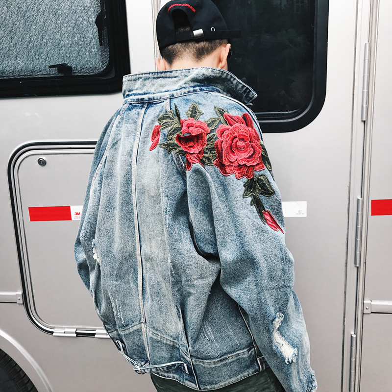 Дропшиппинг 2018 весна джинсы с цветами куртка