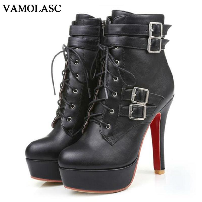 VAMOLASC New font b Women b font Autumn Winter Leather Ankle Boots Zipper Thin High Heel