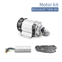 BM1418ZXF 750W 48V 60V DC Electric Brushless Motor Kit BLDC Controller Chain Set E Tricycle Motorcycle Conversion Kit 2800RPM