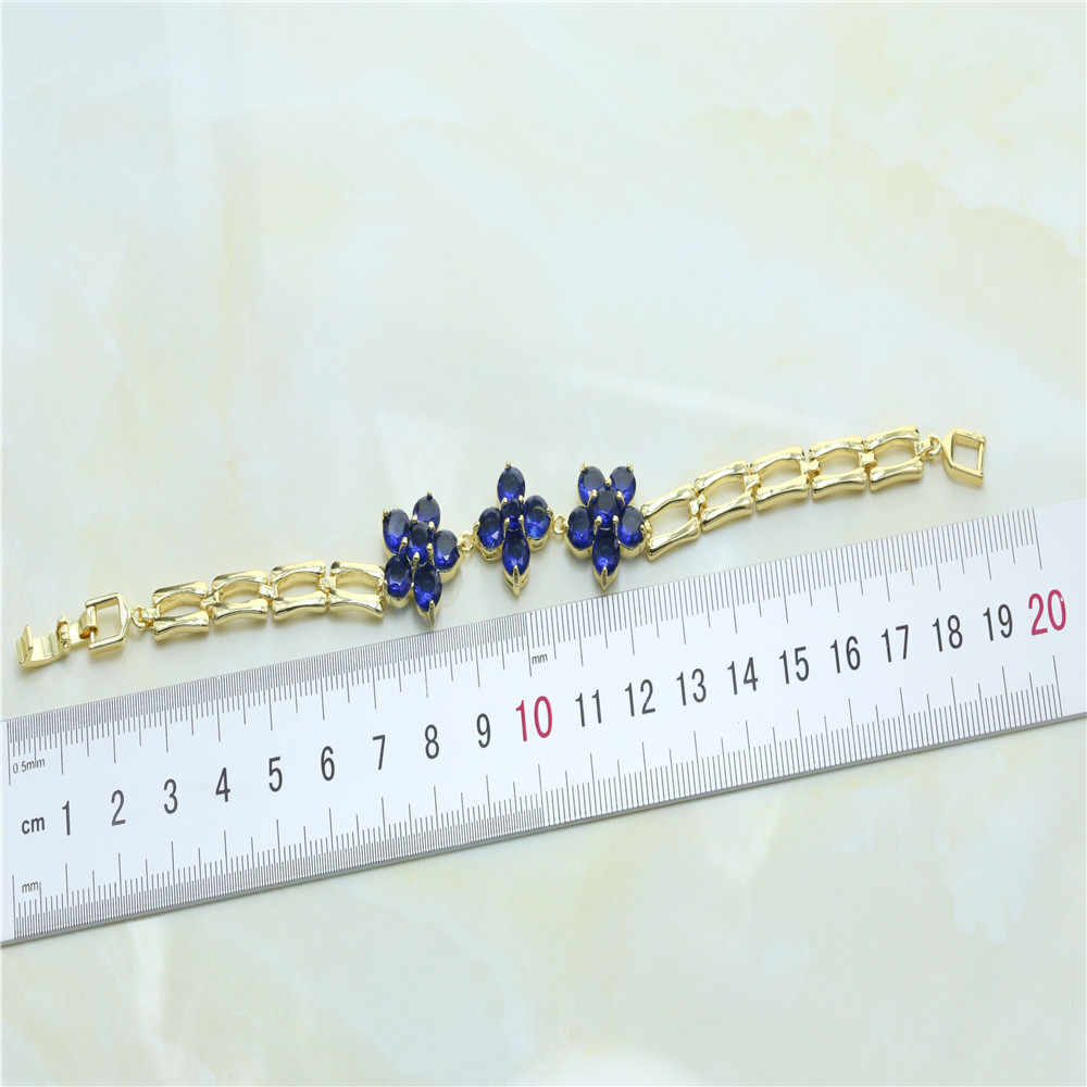 Otogo Transing  J075I New Gold  Color Claw Set With Crystal Blue Floral Motif Of The Main Stone Fashion Feminine Charm Bracelet