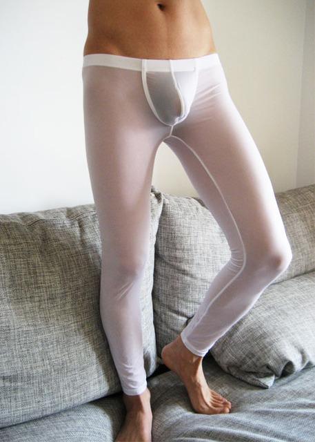 Men ' s transparentes apretado bajo altura pantalones largos Long johns pantalones térmicos pantalones de ropa interior boxeadores