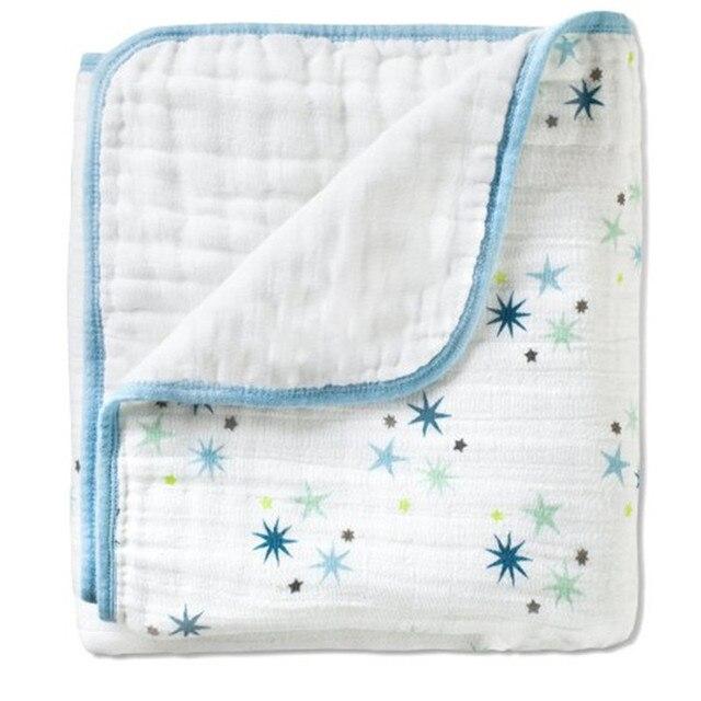 Бесплатная доставка Blue star Baby Одеяло Аден anais Осень Новорожденных Поставки Ребенок Марли Держит Мягкие Одеяла Утолщение Хлопок 2 Слоя