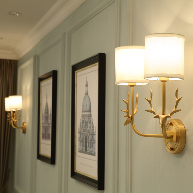 All copper antlers wall lamp sitting room dining-room table bedroom stair personality study corridor LED wall lamp new warm shadow plain coloured wallpaper contracted european style wall paper the sitting room dining room study bedroom wall