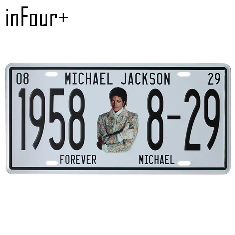 [inFour+]Jackson 1958 8-29 Plate Metal Plate Car Number Tin Sign Bar Pub Cafe Home Decor Metal Sign Garage Painting Plaques Sign